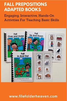 """These Fall Prepositions Adapted Books focus on the prepositions, """"in and out,"""" """"up and down,"""" and """"over and under,"""" and fall themed vocabulary words. This download includes 3 adapted books that provide lots of hands on practice for students who need work with positional concepts and words. 3 Adapted Books Included: """"Fall In and Out"""" """"Fall Over and Under"""" """"Fall Up and Down"""" Early Learning Activities, Autumn Activities, Hands On Activities, Classroom Activities, Preposition Activities, File Folder Games, Word 3, Preschool Themes, Prepositions"""