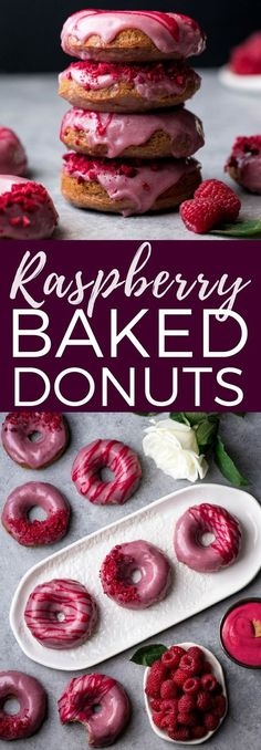 Raspberry Baked Donuts with Raspberry Glaze are naturally pink with no food coloring and are bursting with berry flavor! They are super easy to make and are dairy-free with a gluten-free option! Baked Donut Recipes, Baked Doughnuts, Baking Recipes, Healthy Baked Donuts, Vitamix Recipes, Kitchen Recipes, Vegan Recipes, Delicious Donuts, Delicious Desserts