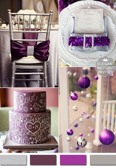 purple and silver elegant wedding color ideas #elegantweddinginvites