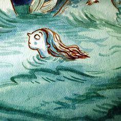 Another little crop from the picture book I'm working on. Using the good old fashioned dip pen and watercolours keep saying 'ctrl z' in my head when I make a mistake. #kidlitart #mermaid #wip #childrensbooks #childrensillustration