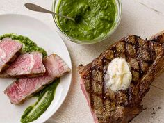 Grilled Rib Eye Steak with Romaine Marmalade and Watercress Recipe From Chef Geoffrey Zakarian. Grilled Steak Recipes, Grilling Recipes, Healthy Grilling, Pork Chop Recipes, Meat Recipes, Grilled Seafood, Grilled Lamb, Grilling Ideas, Shrimp Recipes