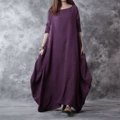 Women casual loose linen dress with long sleeve, made of  linen fabric.Would like this kinda of Bohemian look? check your wardrobe on buykud.com