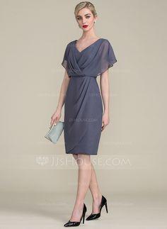 b5e355be82d Sheath Column V-neck Knee-Length Chiffon Mother of the Bride Dress With