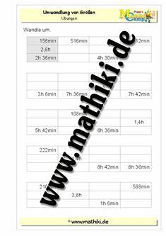Klassenarbeit zu Größen und Maßeinheiten | Mathe/ Größen und ...