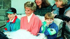 1994: Princess Diana was extremely close to her boys. Here they ride in a horse-drawn sleigh as they leave their hotel in Lech, Austria.