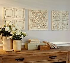 Find antique tin panels, clean,frame and paint (Annie Sloan Paint)