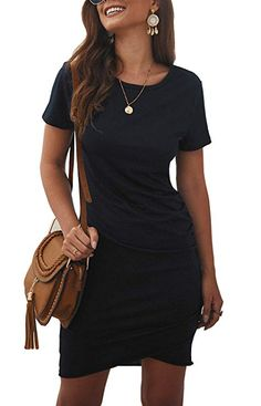 BTFBM Women's 2020 Casual Crew Neck Ruched Stretchy Bodycon T Shirt Short Mini Dress at Women's Clothing store Comfortable Clothes. There are two different style of this women casual short dress: short sleeve color) and sleeveless color). Short Mini Dress, Dress For Short Women, Summer Dresses For Women, Summer Skirts, Summer Outfits, Bodycon Dress With Sleeves, Short Sleeve Dresses, Velvet Bodycon Dress, Casual Winter