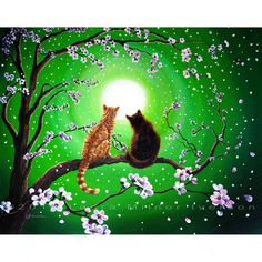 Orange Tabby and Black Cats in Green Cherry Blossoms Zen Iverson Original Painting on Canvas SALE. $999.00, via Etsy.
