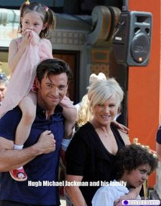 Hugh Jackman and daughter Ava, wife Deborra-Lee Furness and son Oscar Hugh Michael Jackman, Hugh Jackman, Australian Actors, The Greatest Showman, Gary Oldman, Celebrity Kids, Colin O'donoghue, Celebs, Celebrities
