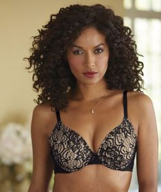 2-Tone Lace Bra from Midnight Velvet®. Black floral lace over nude cups give a deliciously sexy vibe to this bra.