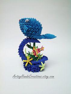 3d Origami Fish. 3d Origami Starfish. Paper Fish. Paper Starfish. Unique decorative item. Handmade gift idea. This 3d origami aquatic