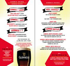 design for a summer drinks menu for Fadó Irish Pub & Restaurant (2011)