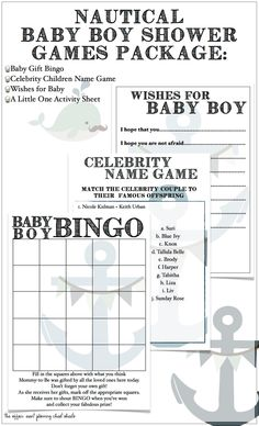 Baby Boy Shower Nautical Themed Game Package DIY by TheAffairShop