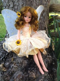 Rerooted and repainted golden Sindy fairy