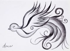 Swirly Sparrow Graphite Drawing