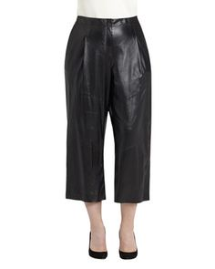 Leather Cropped Pants, Black, Women\'s by Lafayette 148 New York at Neiman Marcus.