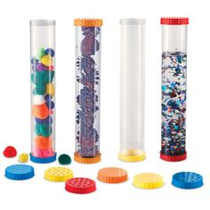 Develop their senses and encourage science exploration with this set of 4 sturdy, clear tubes.  Tubes feature dual openings.  Vented lids let children explore their sense of smell or secure small creatures for observation.  Lids twist on and off.  Solid lids hold liquid securely inside. <br/><br/> Includes: <br/><br/>      • 4 tubes<br/>      • 8 solid lids (2 red, 2 blue, 2 yellow, 2 orange) <br/>      • 4