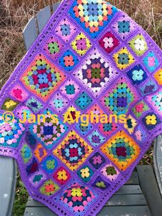 Crocheted afghan kaleidoscope granny square baby by JansAfghans