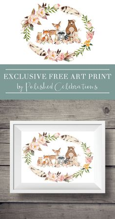 Looking for a gorgeous boho woodland art print? This free printable would look beautiful in a baby boy or baby girl nursery. Easy, peasy, inexpensive home decor! This phenomenal print is an exclusive bonus from Polished Celebrations for the Home Beauti Woodland Art, Woodland Nursery, Woodland Animals, Nursery Prints, Nursery Art, Girl Nursery, Boho Nursery, Inexpensive Home Decor, Easy Home Decor