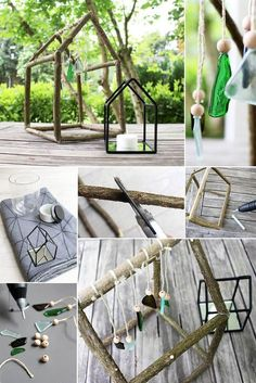 DIY: Dani von Gingered Things baut aus Zweigen und Glasscherben ein natürliches Windspiel für den Garten.