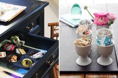 Storage ideas for little things.  Eggs cups and muffin tins.