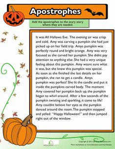 Halloween Fourth Grade Punctuation Worksheets: Adding Apostrophes