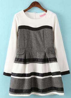 Vestido+suelto+rayas+manga+larga-Gris+EUR€24.45