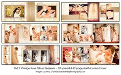 PRODUCT DESCRIPTION:  • 8x12 20 spread (40 page) digital wedding album in photoshop(PSD) format.  • Editable text and color, 300 dpi resolution