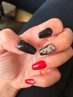 Black and red Swarovski nails