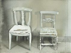 "I love the splendid ""accidents"" in this painting of chairs by Lars Lerin. Watercolor And Ink, Watercolor Paintings, Painting Art, Modern Masters, Watercolor Techniques, Art Studios, New Art, Cool Art, Inspiration"