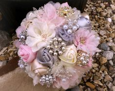 Romantic Brooch Bouquet Fabric Flower and by PetalsAndStardust