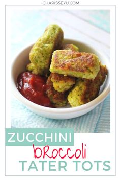 Halloween is fast approaching. This holiday is a great time to introduce green foods to kids who won't touch anything green let alone eat it. If you make your meals a little fun and festive, they may just give it a try.  These zucchini broccoli tater tots (or green monster bites) are super tasty and great as a side or snack! Easy Toddler Meals, Kids Meals, Vegetarian Meals For Kids, Vegetarian Recipes, Tater Tot Recipes, Green Foods, Vegetable Snacks, Tater Tots, Best Dinner Recipes