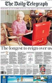 """""""Wednesday's Telegraph front page: The longest to reign over us The Daily Telegraph, Music Radio, Long A, Reign, Wednesday, September, Queen, Royalty"""