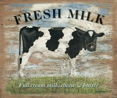 Fresh Milk Cheese Butter Metal Sign Wood Look Cow Kitchen Decor 16 x 12 Cow Kitchen Decor, Cow Decor, Barn Kitchen, Milk Art, Farm Signs, Fresh Milk, Metal Signs, Tin Signs, Farm Animals
