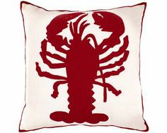 #PineConeHill Fresh American Lobster Ivory/Red Indoor/Outdoor Pillow