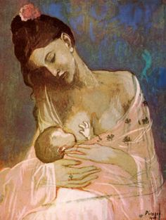 Picasso paints his wife, nursing their first child. The Blue Period. Love this.