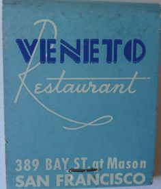 VENITO RESTAURANT SAN FRANCISCO CALIF