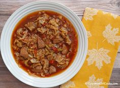 Gourmet Girl Cooks: Slow Cooker Spicy Beef & Cabbage Soup - Easy Low Carb