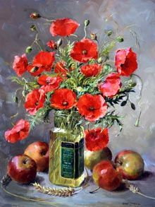 Ann Cotterill OIL Apples and Wild Poppies