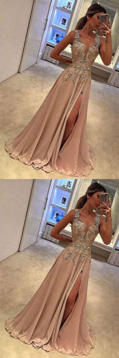 Sexy Prom Dress,Deep V Neck Prom Dresses with Split Side,Appliques Prom Gowns,A Line Prom Gown,Long Prom Dress #long #prom #gown #slit #appliques #okdresses