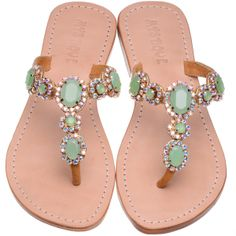 Bejeweled Mystique sandals, perfect for the hot summer weather. Beautiful Sandals, Cute Sandals, Cute Shoes, Shoes Sandals, Green Sandals, Summer Sandals, Boots With Leg Warmers, Mystique Sandals, Leather Sandals Flat