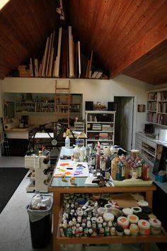 I love to see other artist's studios and how they are organized. AND, how they deal with unusual shaped spaces.