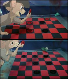 When Jake and Sparky are playing checkers, the positions and colors of the checkers changes right before Sparky makes his winning move.