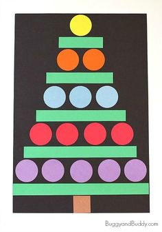 Christmas Crafts for Kids: Paper Shape Christmas Tree Craft~BuggyandBuddy.com