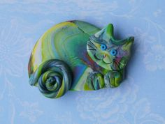 Polymer Clay Colorful Happy Cat pin brooch or magnet by Coloraudia, $10.00