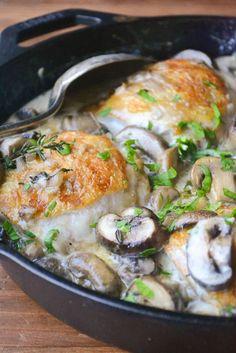 Chiucken Thighs in a creamy Marsala mushroom sauce:
