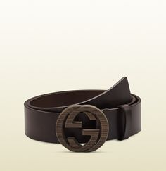 b02e32f778433 brown leather belt with interlocking G buckle Brown Leather Belt