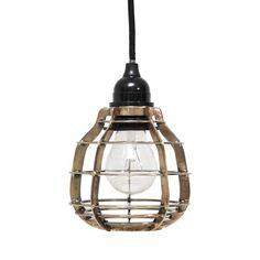HK-living Hanglamp LAB met stekker messing metaal Ø13x17cm, LAB lamp messing