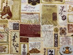 100 Cotton Quilt Prints DIARY COLLAGE Fabric / 45 by FabricEmpire, $6.90