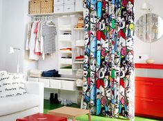 ALGOT storage solution with shelves, clothes rail and wire baskets all in white